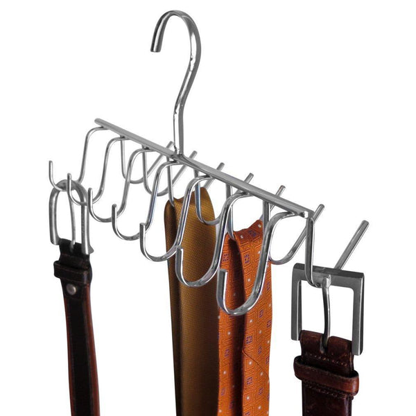 Save evelots tie belt scarf jewelry rack hanger closet organizer chrome 14 hooks
