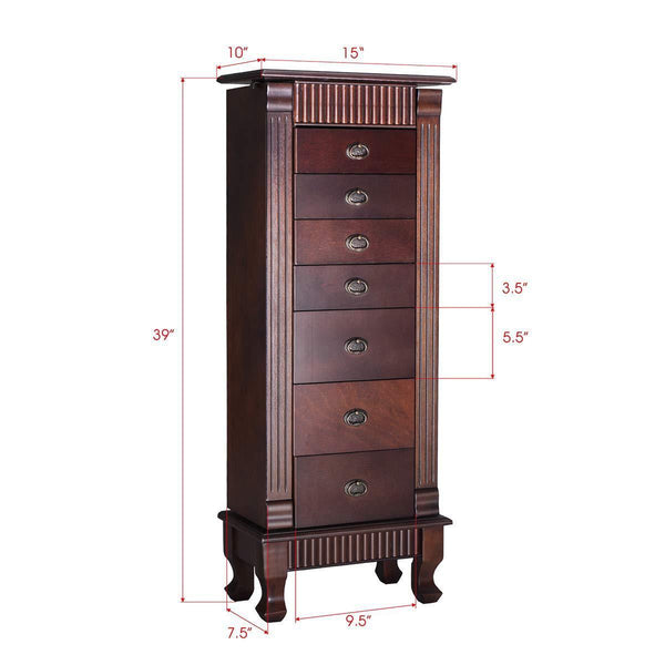 Purchase giantex standing jewelry armoire cabinet storage chest with 7 drawers 2 swing doors 12 necklace hooks makeup mirror and top divided storage organizer large standing jewelry armoire