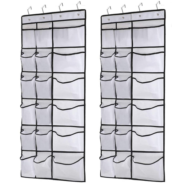 Discover the kootek 2 pack over the door shoe organizers 12 mesh pockets 6 large mesh storage various compartments hanging shoe organizer with 8 hooks shoes holder for closet bedroom white 59 x 21 6 inch