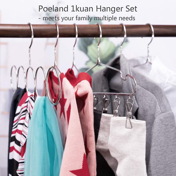 Poeland 1kuan Clothes Hanger Set 304 Stainless Steel Standard High-end Hangers & Kids Hanger & Sock Hanger & Scarf Hnager