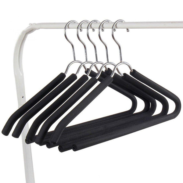 LIANGJUN Clothes Hangers Coat Pants Stainless Steel Non-slip Multifunctional Drying Rack Pack Of 10, 40X21cm (Color : Black, Size : 3 packs)