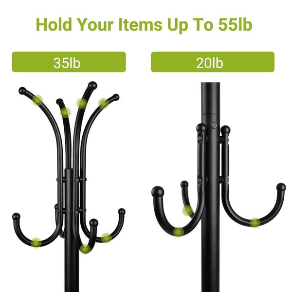Cheap cozzine coat rack coat tree hat hanger holder 11 hooks for jacket umbrella tree stand with base metal black