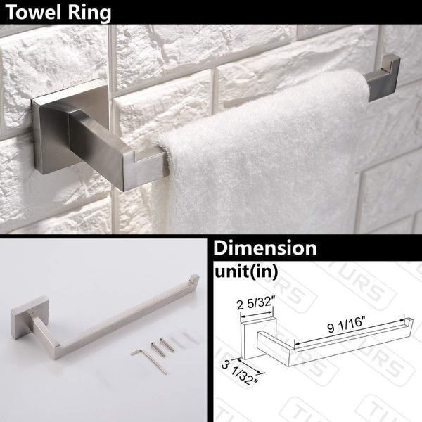 On amazon turs contemporary 4 piece bathroom hardware set towel hook towel bar toilet paper holder tower holder sus 304 stainless steel wall mounted brushed