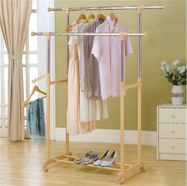 LPYMXCoat Rack Floor Bedroom Drying Rack, Floor-Lift Drying Racks Double-Rod Hangers Adjustable Shelf Racks Stainless Steel castors, Gold