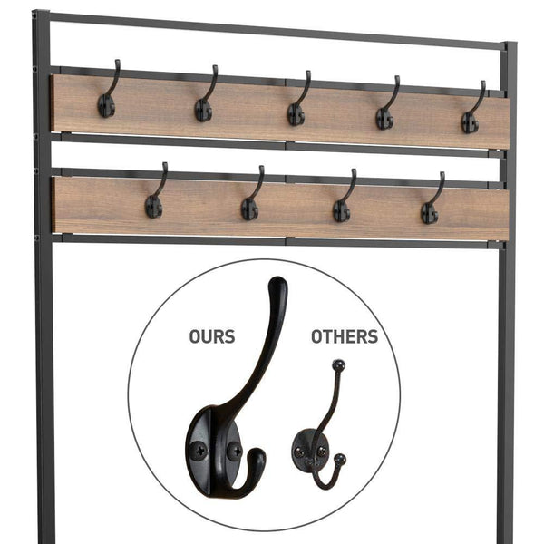 Try topeakmart vintage coat rack 3 in 1 hall tree entryway shoe bench coat stand storage shelves 9 hooks in black metal finish