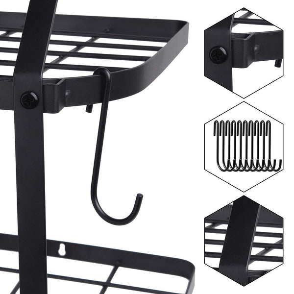 Organize with geekdigg 29 5 inch wall mounted pot rack storage shelf with 2 tier 10 hooks included kitchen pot racks hanging storage organizer black