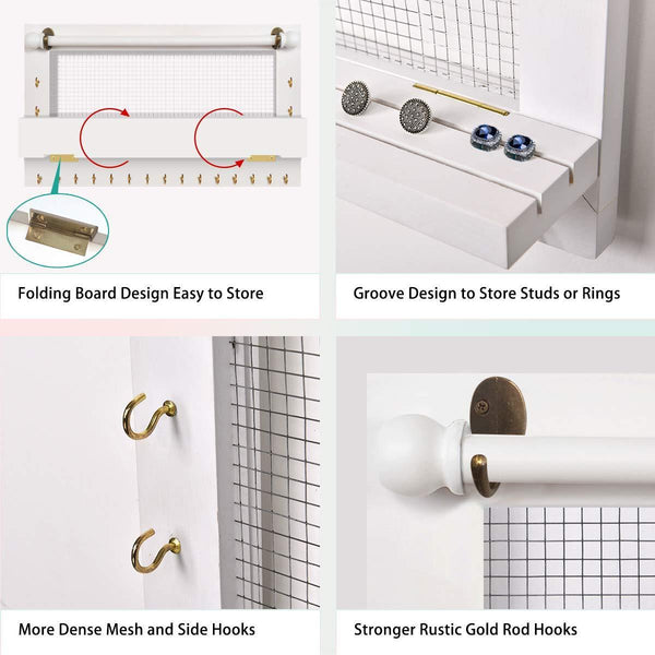 Buy now viefin white wall mounted mesh jewelry organizer wooden earring bracelet holder with shelf hanging hooks for necklace chic wall decorwhite improved