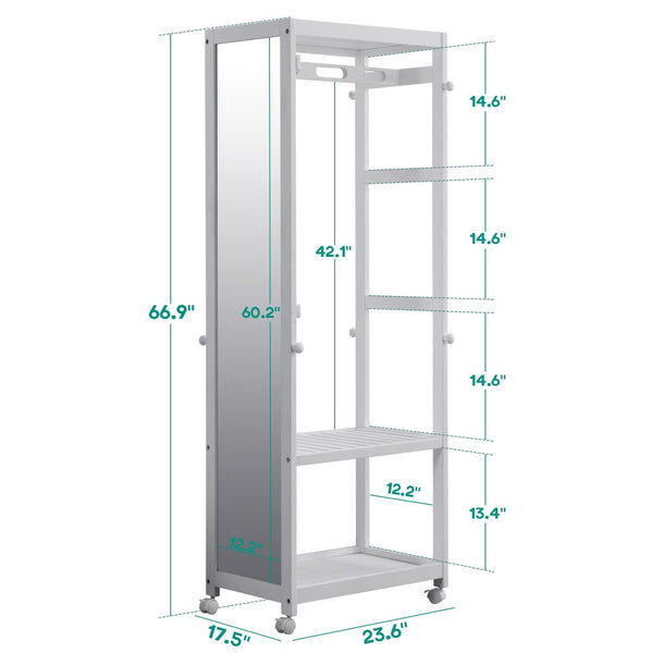 Great free standing armoire wardrobe closet with full length mirror 67 tall wooden closet storage wardrobe with brake wheels hanger rod coat hooks entryway storage shelves organizer ivory white