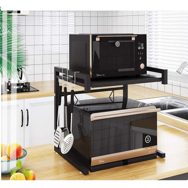 Select nice metal microwave oven rack toaster stand shelf expandable kitchen supplies tableware storage counter space saver cabinet organizer spice holder with 3 hooks 60lbs weight capacity black stainless steel
