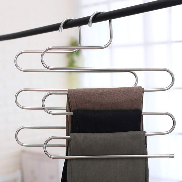 SYIDINZN Pants Hangers Rack Holder Stand Shelf Organizer Stainless Steel S-Shape Multi-Purpose Hangers Storage Rack for Clothes, Pants, Jeans, Trousers, Scarfs, Ties, Towels, Closet