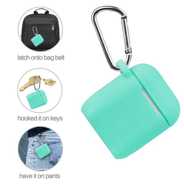 New airpods accessories set filoto airpods waterproof silicone case cover with keychain strap earhooks accessories storage travel box for apple airpod mint green
