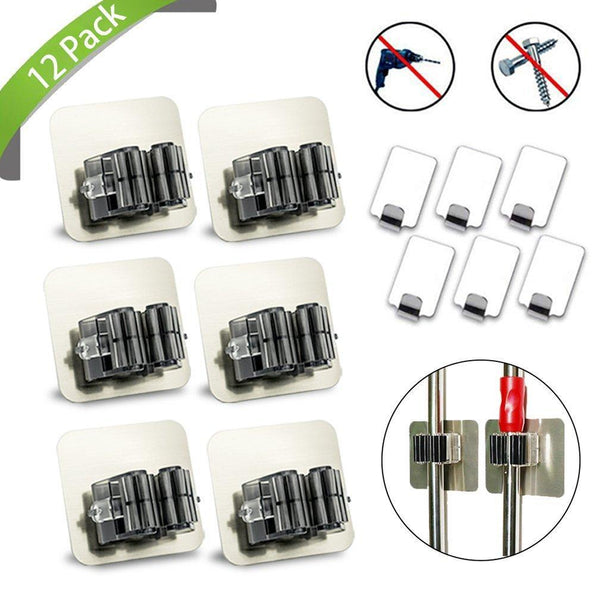 New mop and broom holder 12 packxiaoximi 6 pack broom mop holder 6 pack adhesive hook no drilling wall mounted self adhesive tools ideal broom hanger stainless steel waterproof hanger for your home