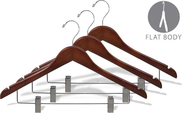 Try wooden combo hangers with walnut finish adjustable cushion clips flat 17 inch hanger with chrome swivel hook notches set of 24 by the great american hanger company