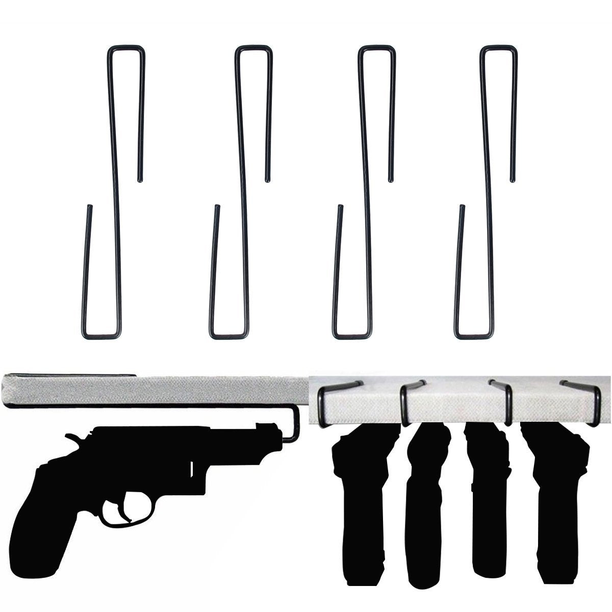 Storage cyberone pack of 8 handgun pistol hangers stainless steel gun hanger vinyl coated hook shelves safes