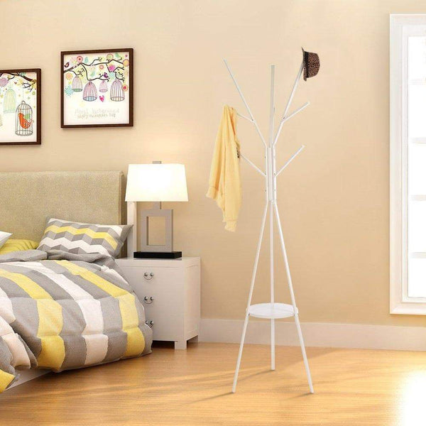 New home bi coat rack stand coat hanger with 9 hooks for holding jacket hat purse white