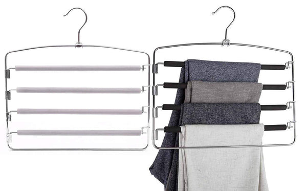 Buy knocbel pants clothes hanger closet organizer 4 layers non slip swing arm hangers hook rack for slacks jeans trousers skirts scarf 2 pack beige