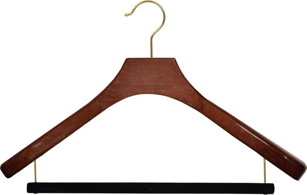Discover deluxe wooden suit hanger with velvet bar walnut finish brass swivel hook large 2 inch wide contoured coat jacket hangers set of 12 by the great american hanger company