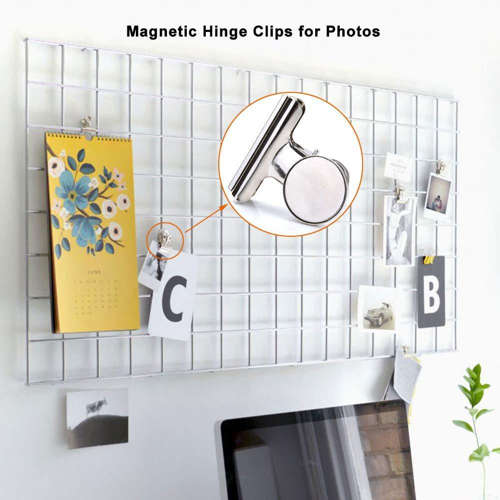 Shop super strong refrigerator magnetic clips for fridge coideal silver metal medium heavy duty magnetic bulldog hook clips with neodymium magnet for calendar photo home kitchen deco 2 inch 6 pack