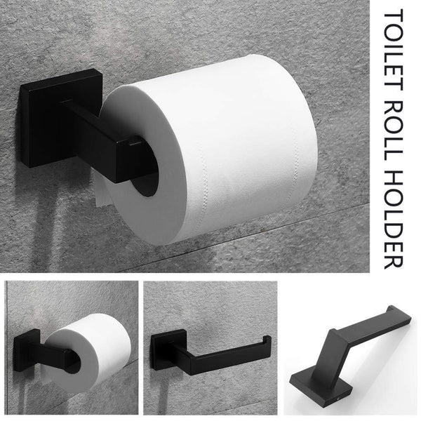 Home velimax premium stainless steel bathroom hardware set black 4 pieces bathroom hardware accessories set wall mounted towel bar towel holder hook toilet paper holder matte black