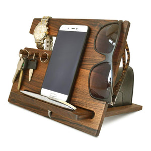 Related wood phone docking station walnut desk organizer tablet holder key hooks coin wallet watch stand handmade men graduation gift husband anniversary dad birthday idea nightstand for him gadget