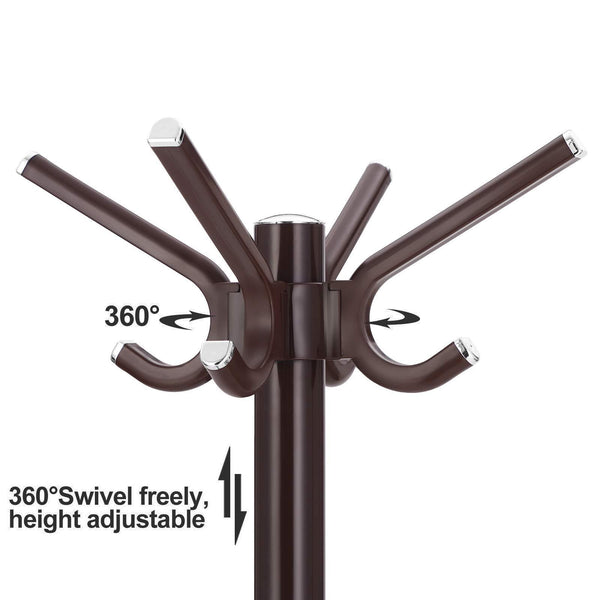 Get songmics coat rack purse rack hall tree with 14 rotating plastic hooks espresso urcr19z