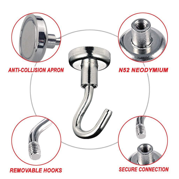 Discover the tlbtek 10 pack of 75 lbs neodymium magnetic hooks heavy duty powerful strong magnetic hooks for bathroom bedroom kitchen workplace office and garage