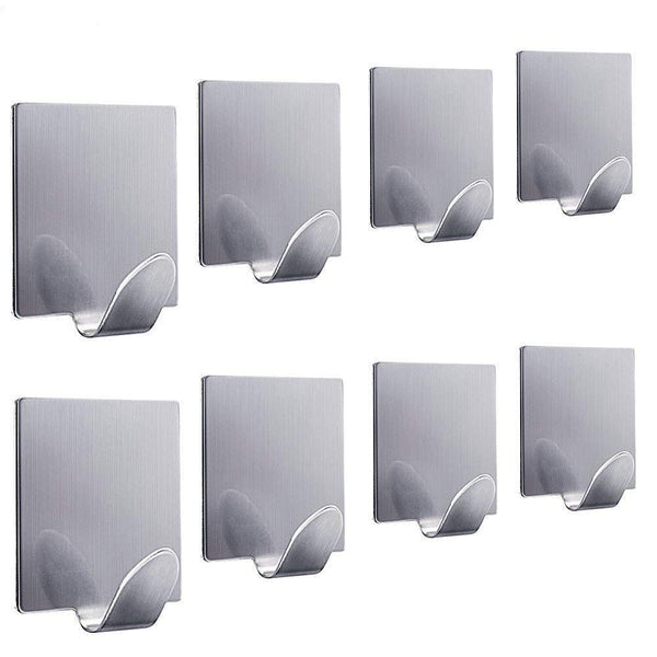 Explore fotyrig adhesive hooks wall hooks hangers waterproof stainless steel stick on hooks for hanging robe towel coat kitchen utensils keys bags home kitchen bathroom 8 packs