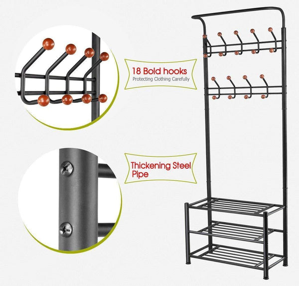 Buy now finefurniture entryway coat and shoe rack with 18 hooks and 3 tier shelves fashion garment rack bag clothes umbrella and hat rack with hanger bar