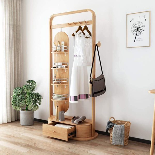 Select nice zcyx mirror body household dressing mirror wood hanger bedroom multi purpose coat rack storage rack hanger hooks color a
