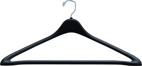 Save the great american hanger company heavy duty black plastic suit hanger with fixed bar box of 100 sturdy 1 2 inch thick coat hangers with square topped chrome swivel hook