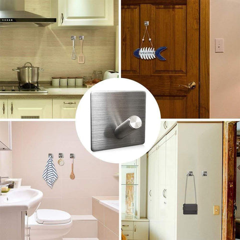 Selection heavy duty wall hooks 304 stainless steel hook wall mount for home bathroom kitchen utensils damage free utility 3m self stick hooks holds6 pounds waterproof hanger for towel keys coat bags 4 pcs