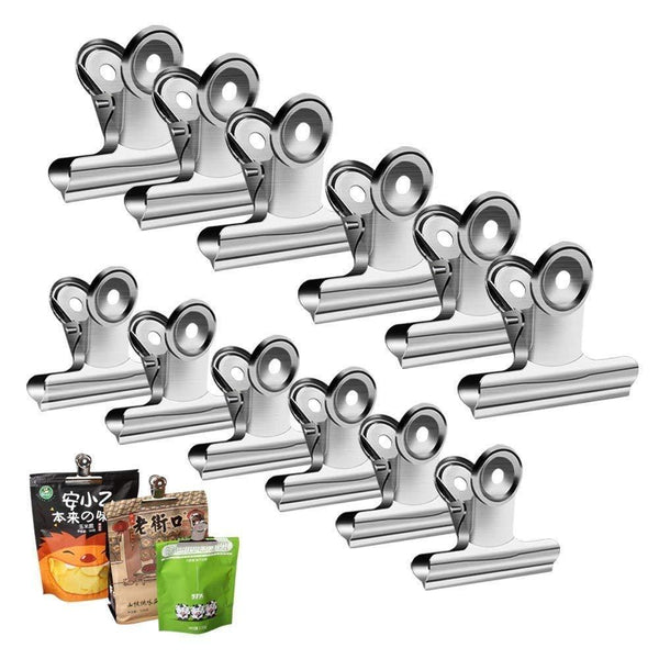 Select nice chip clips bag clips food clips heavy duty clips for bag silver all purpose air tight seal good grip clips cubicle hooks for office school home pack of 12