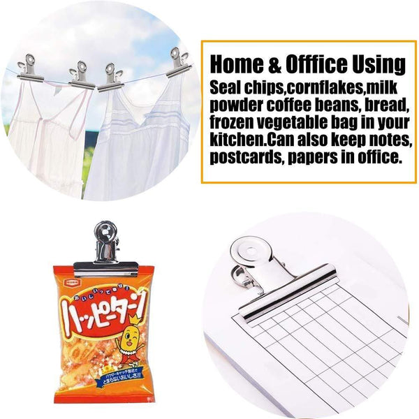 Buy chip bag clips food clips heavy duty clips for bag cloth silver all purpose air tight seal good grip clips cubicle hooks clips 2 16 wide clips hinge clamp file binder clips office home 20 pack