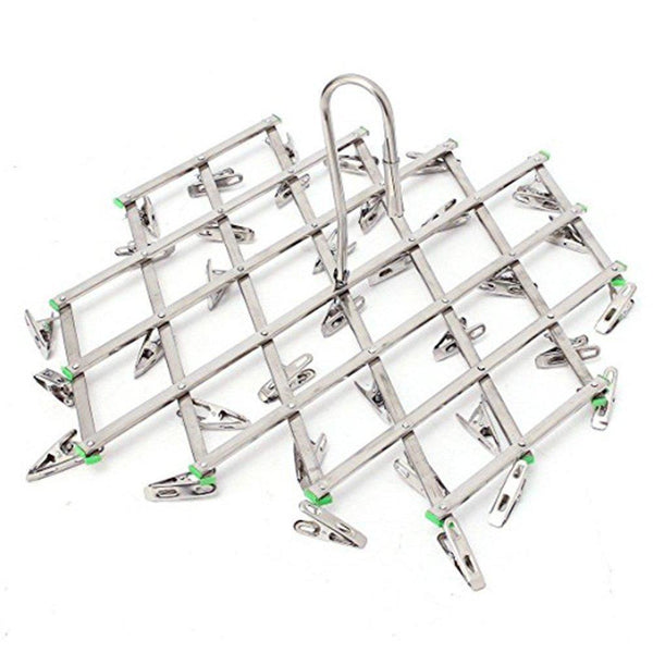 Discover qinglele 2pcs swivel hook stainless steel 35 pegs drying rack clothes hanger for underwear socks gloves