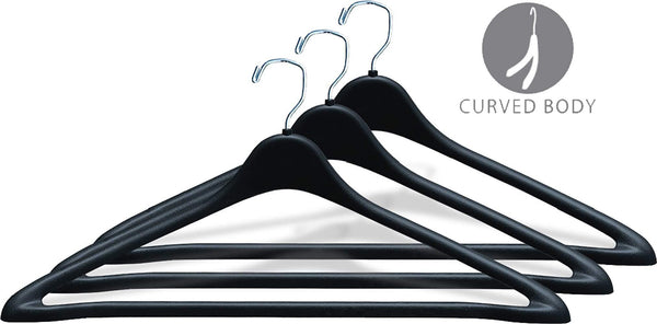 Selection the great american hanger company heavy duty black plastic suit hanger with fixed bar box of 100 sturdy 1 2 inch thick coat hangers with square topped chrome swivel hook