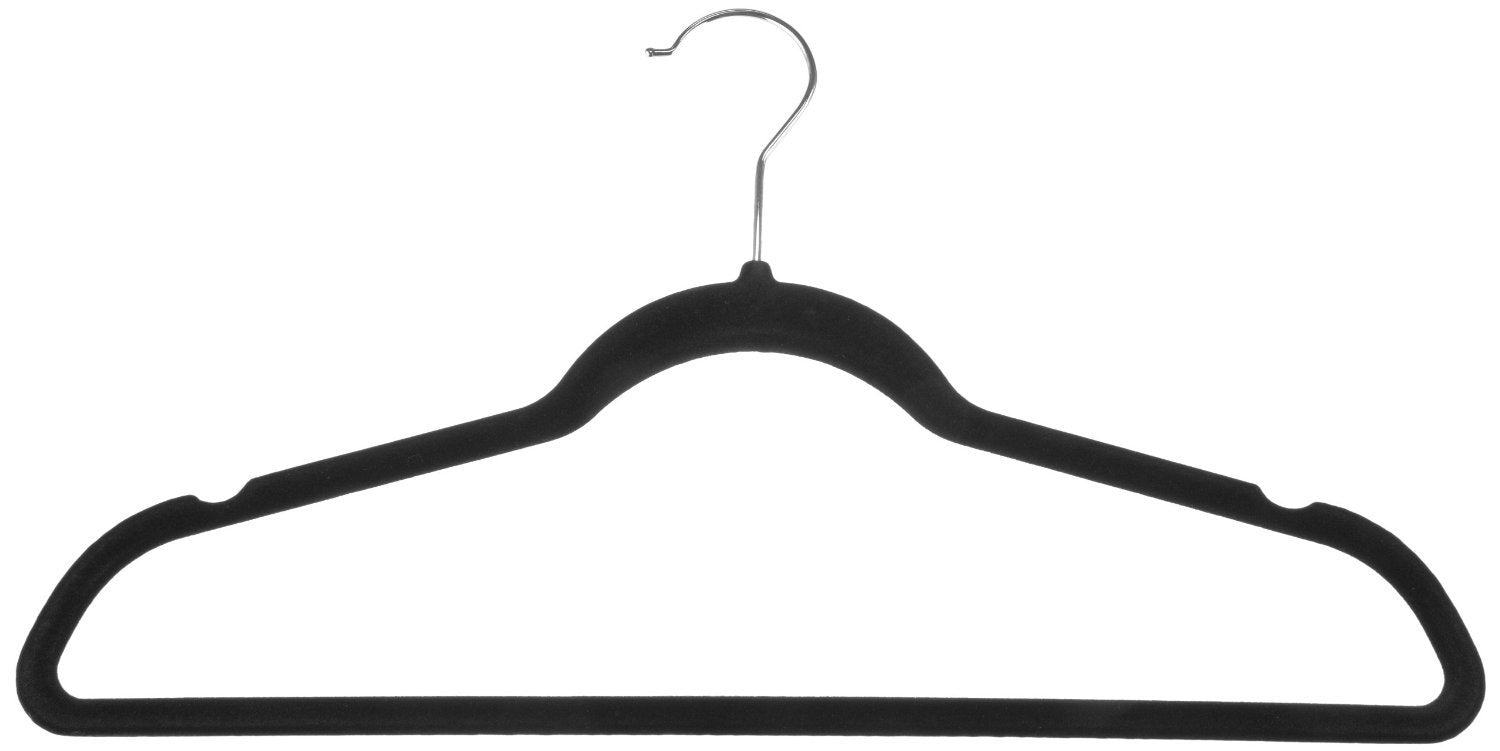 AmazonBasics Velvet Suit Hangers, 50-Pack, Black