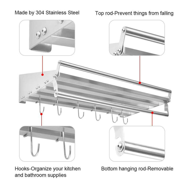 Great homelifairy pot and pan towel rack bathroom shelf organizer stainless steel mounted microwave wall shelf with 6 hooks multi purpose organizer for home restaurant bathroom kitchen 23 5inx 11 5in