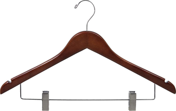 The best wooden combo hangers with walnut finish adjustable cushion clips flat 17 inch hanger with chrome swivel hook notches set of 24 by the great american hanger company