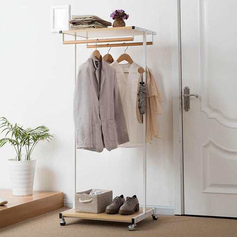 LQQGXLModern Minimalist Coat Rack, Floor Cap and Jacket Double Boom with Pulley Double Frame Stainless Steel (Color : White)