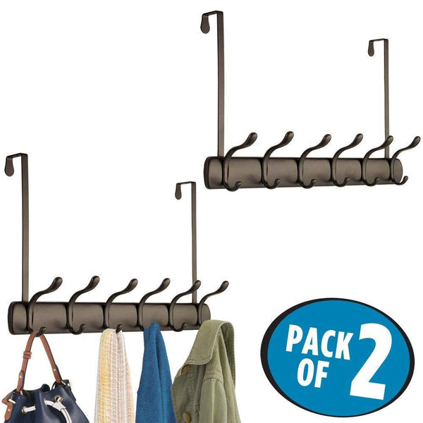 Best seller  mdesign decorative over door long easy reach 12 hook metal storage organizer rack to hang jackets coats hoodies clothing hats scarves purses leashes bath towels robes 2 pack bronze