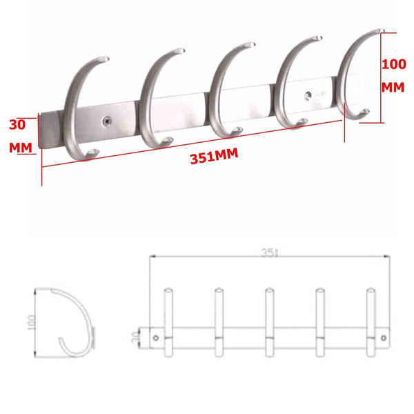 Top dreamsbaku wall mounted coat hooks rail robe towel racks 5 tri hooks for kitchen bedroom stainless steel