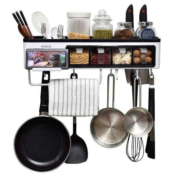 Storage juyou kitchen wall pot rack caddy shelves with towel bar 7 hanger hooks cutlery cooking knife utensils mugs holder pan cookware pantry organization storage 20 inch black