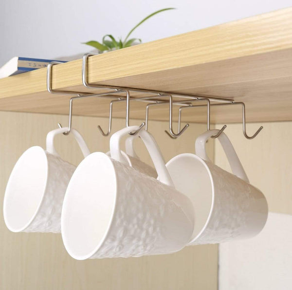 Order now fashionclubs stainless steel 8 hook under shelf mugs cups wine glasses storage hanging drying holder rack