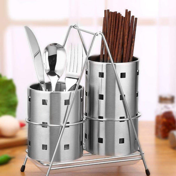 Buy now fdit chopsticks holder stainless steel utensil holder drying rack with hook circular hole tableware storage rack organizer m