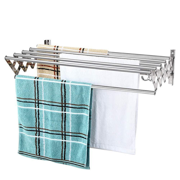 Home merya folding clothes drying rack wall mount retractable 304 stainless steel laundry drying rack bathroom towel rack with hooks rustproof space saving clothes hanger rack for indoor outdoor use