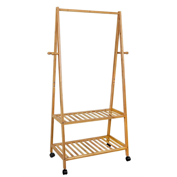 Select nice songmics rolling coat rack bamboo garment rack clothes hanging rail with 2 shelves 4 hooks for shoes hats and scarves in the hallway living room guest room