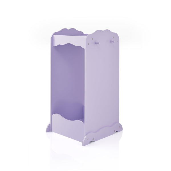 Top rated guidecraft dress up cubby center lavender kids clothing storage rack costume shoes wardrobe with mirror and side hooks standing closet for toddlers