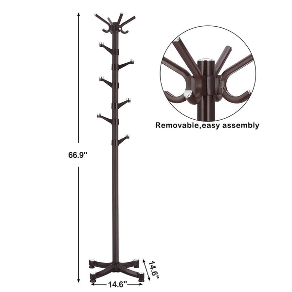 Featured songmics coat rack purse rack hall tree with 14 rotating plastic hooks espresso urcr19z