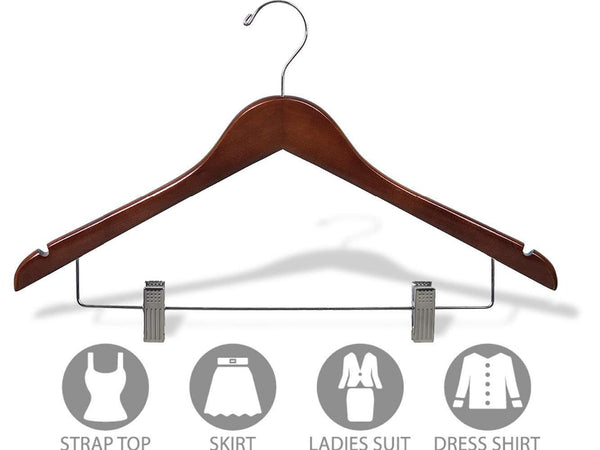 Top rated wooden combo hangers with walnut finish adjustable cushion clips flat 17 inch hanger with chrome swivel hook notches set of 24 by the great american hanger company