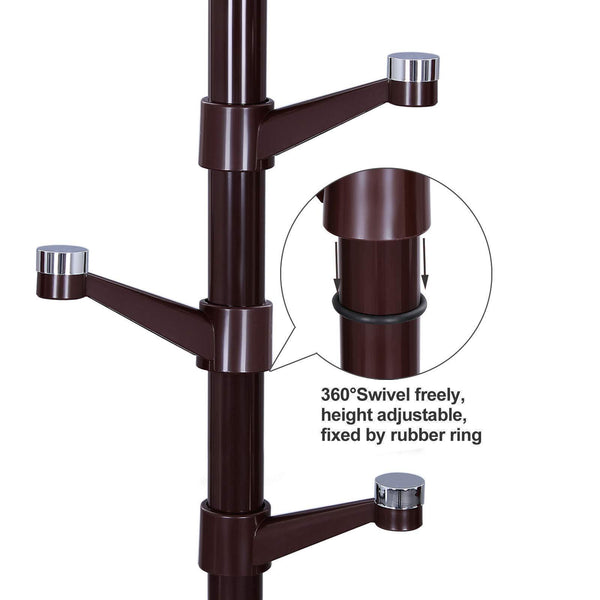Great songmics coat rack purse rack hall tree with 14 rotating plastic hooks espresso urcr19z